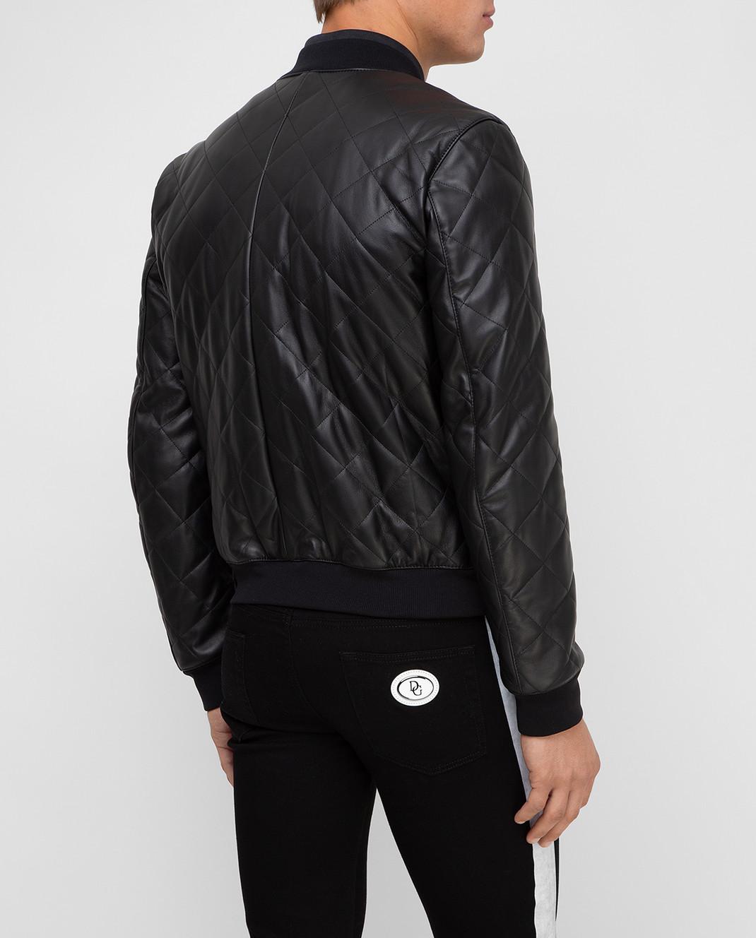 Dolce&Gabbana Черный кожаный бомбер изображение 4
