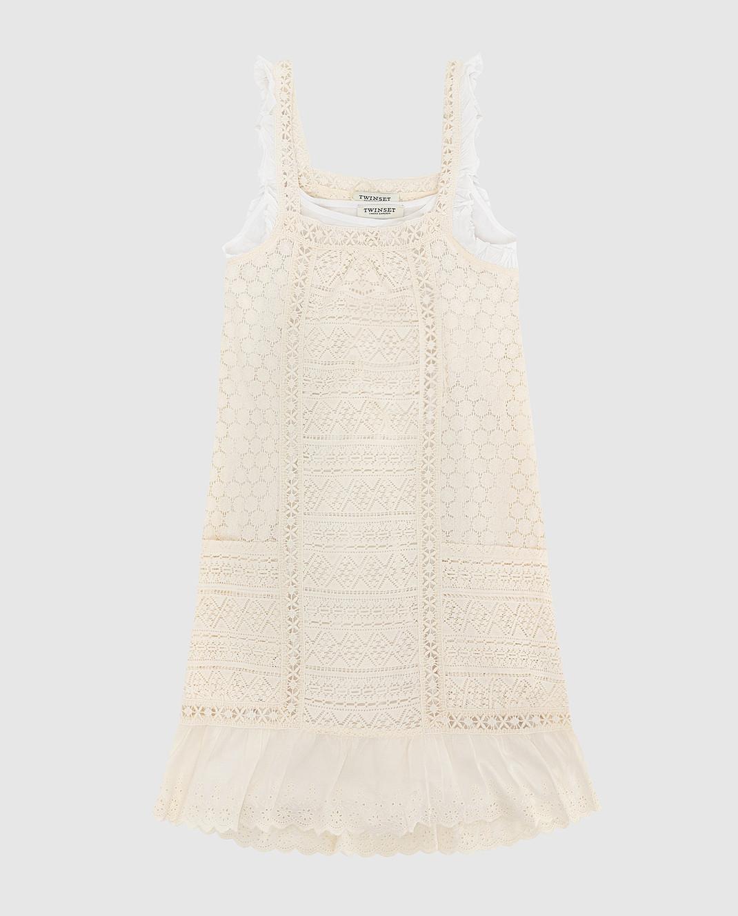 Twin Set Детское светло-бежевое платье GS82Z3610