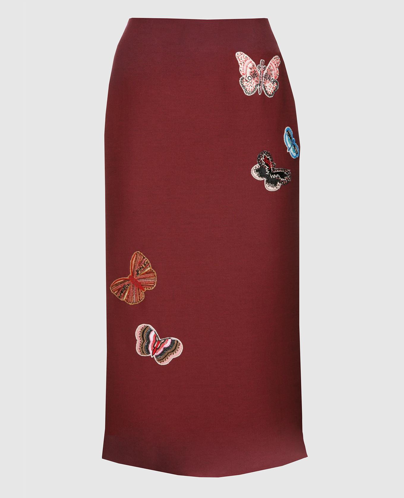 Бордовая юбка  из шерсти и шелка