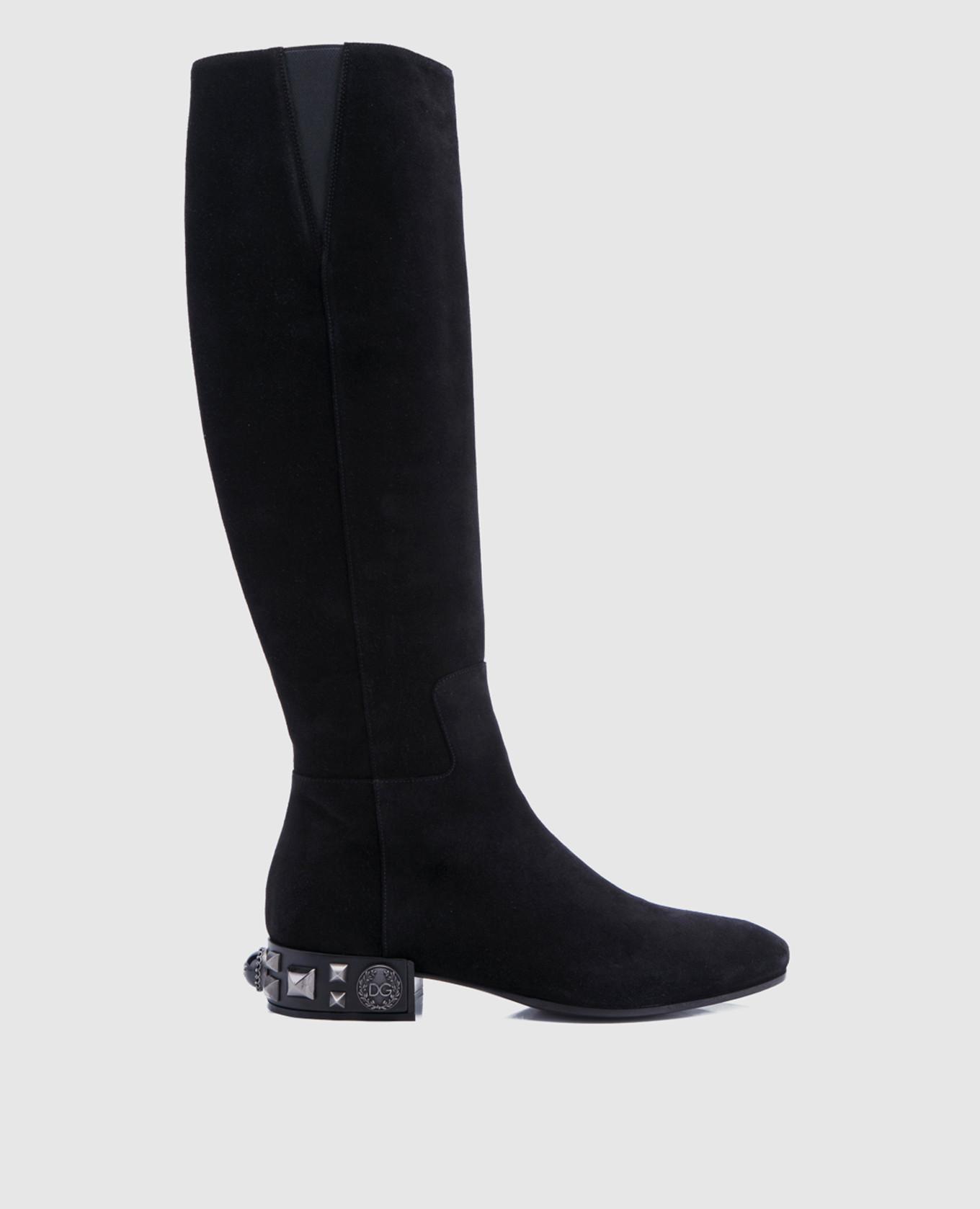 Черные замшевые сапоги Dolce&Gabbana