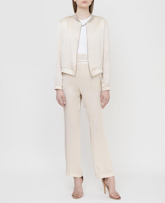 Светло-бежевые брюки из шелка hover