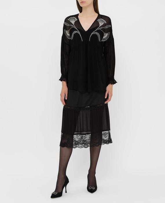 Черная блуза с кристаллами hover