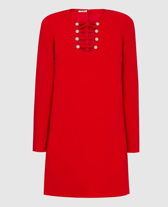 Красное платье с кристаллами