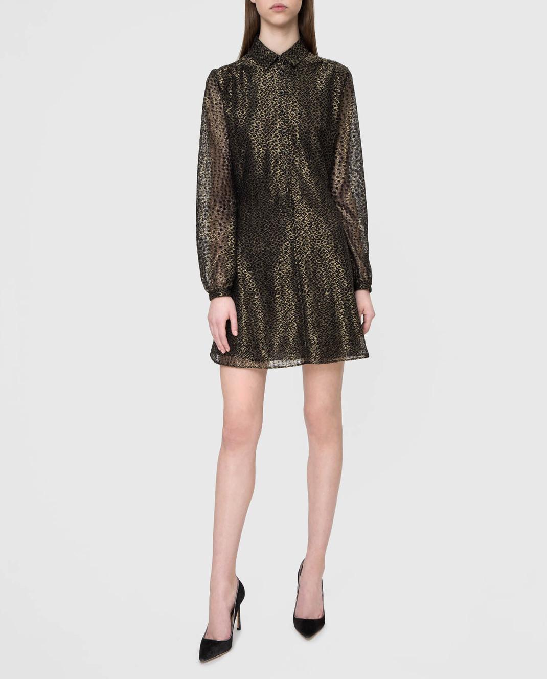 Saint Laurent Золотистое платье изображение 2