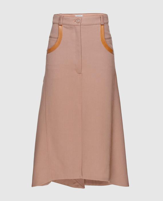 Бежевая юбка из шерсти