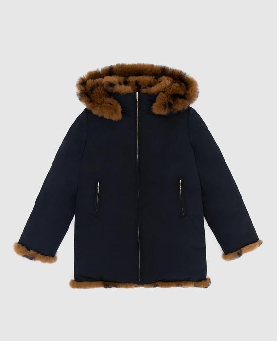 Детская двухсторонняя куртка с мехом кролика