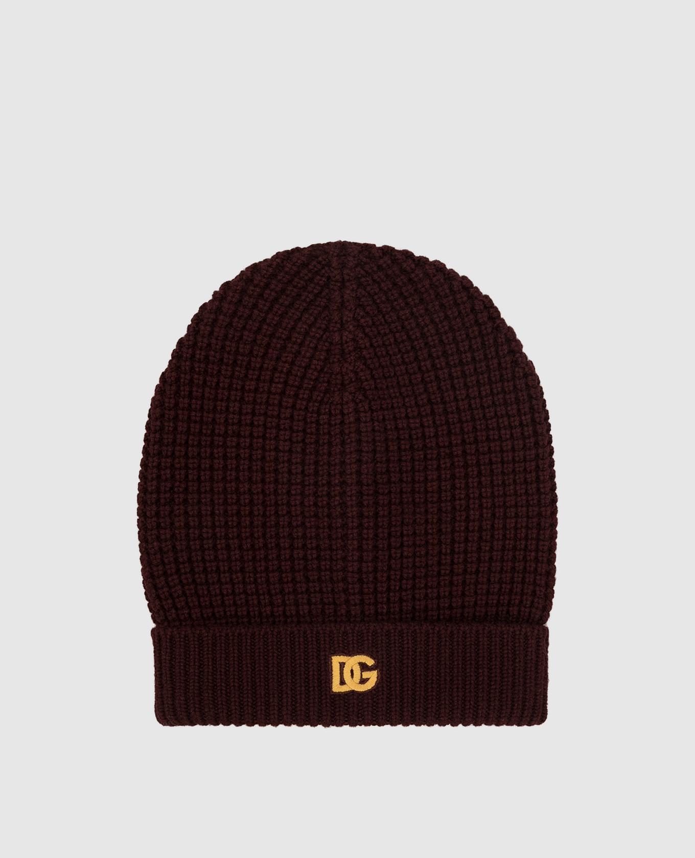 Бордовая шапка из кашемира