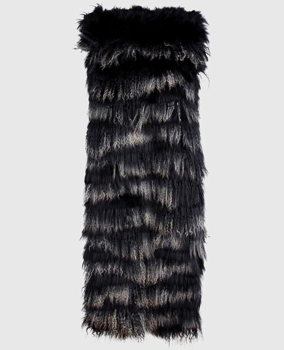 Черный шарф из меха мурмаски и ламы