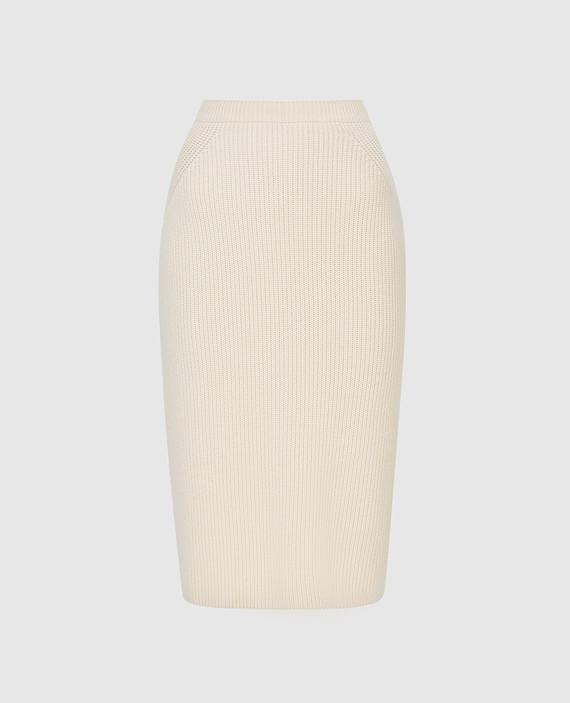 Светло-бежевая юбка из кашемира