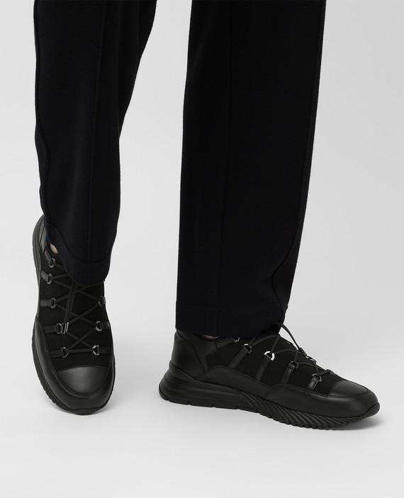 Черные кожаные кроссовки hover