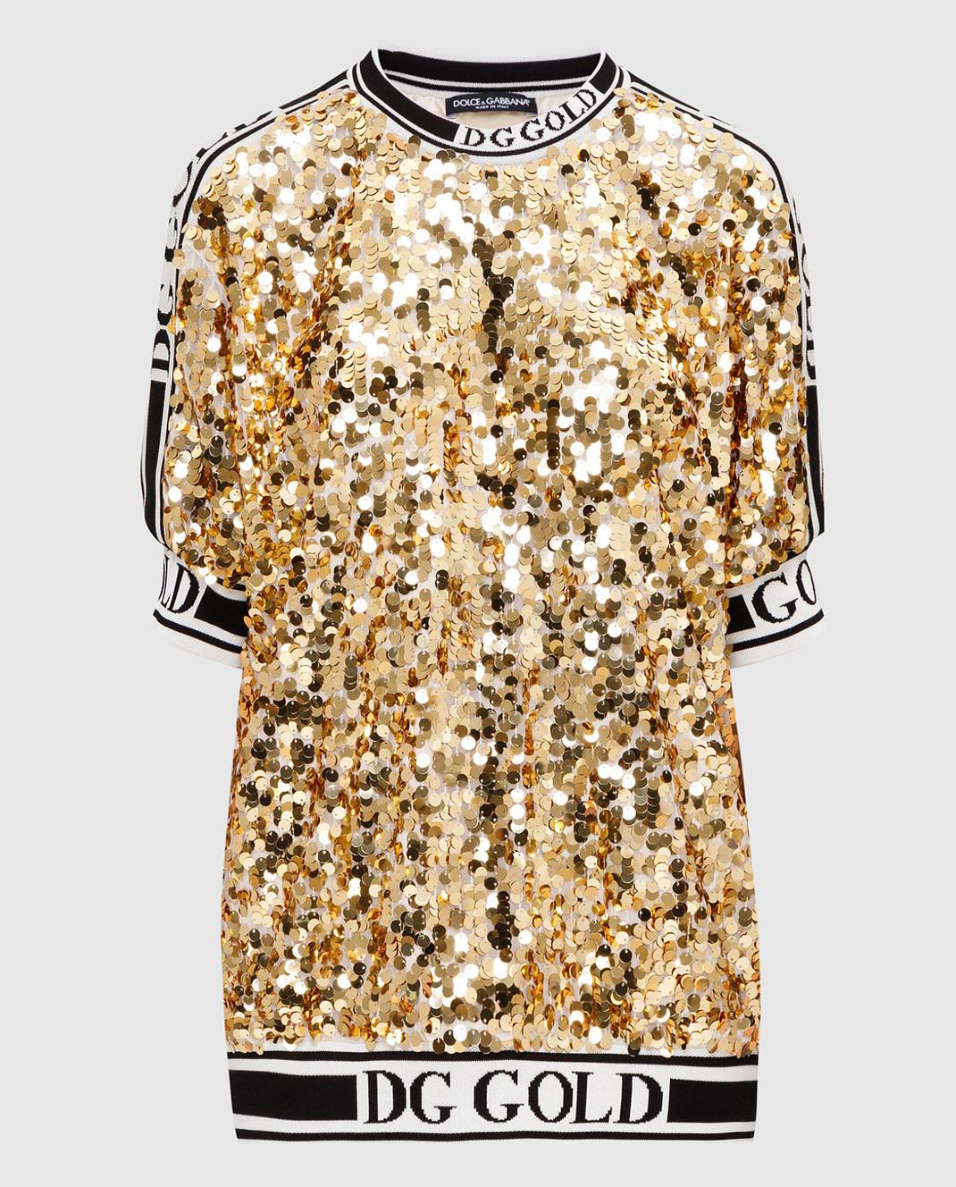 Dolce&Gabbana Золотистая футболка изображение 1