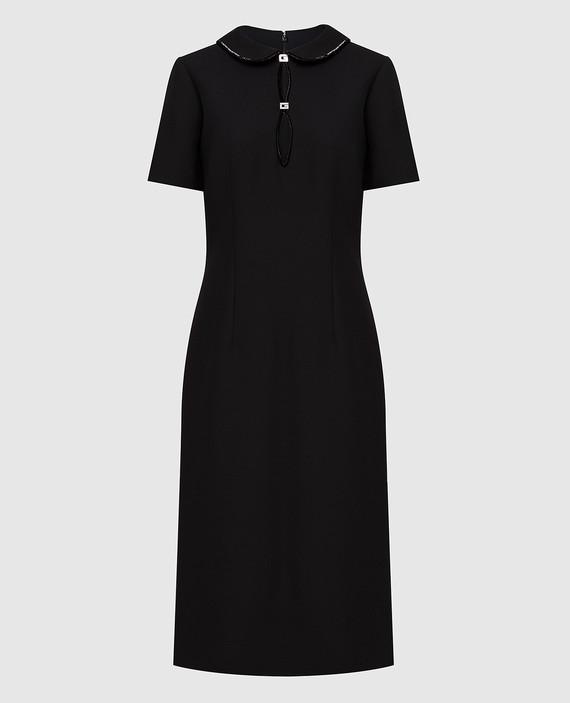 Черное платье из шелка и шерсти
