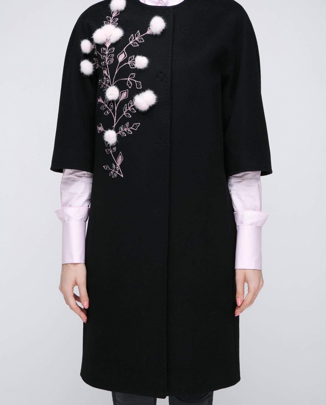 Heresis Черное пальто с меховыми деталями M9095RO изображение 3