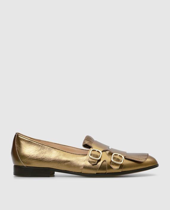 Золотистые кожаные лоферы