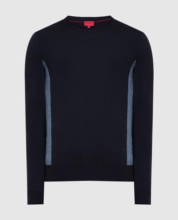 Темно-синий джемпер из шерсти