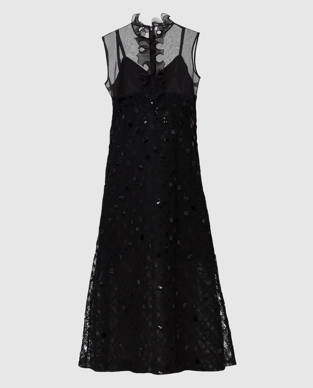 Bottega Veneta Черное платье с пайетками 523986