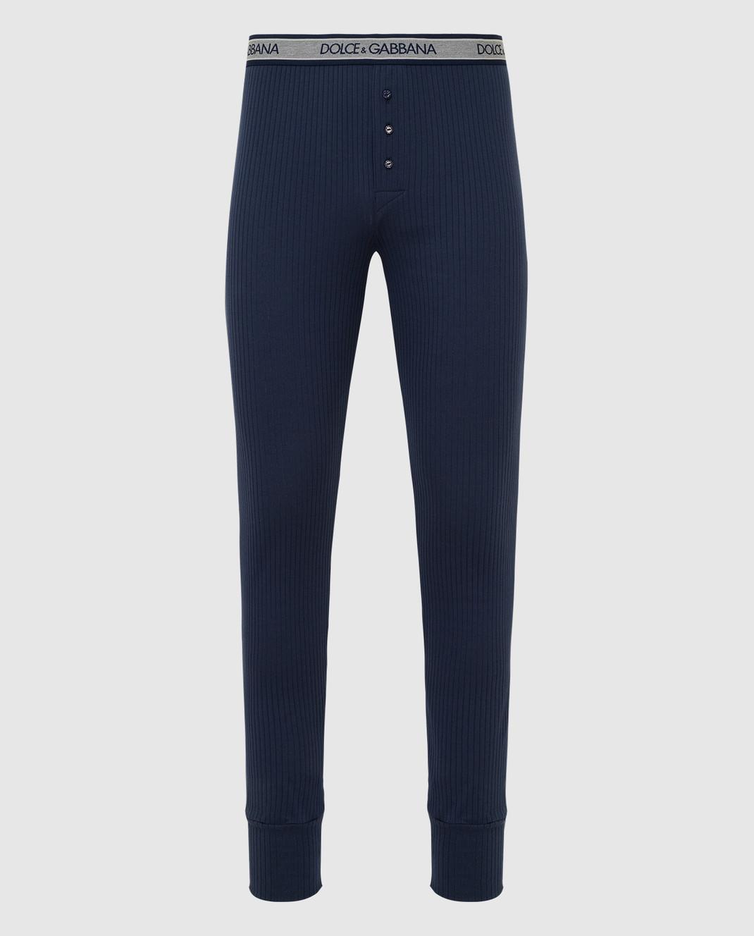 Dolce&Gabbana Темно-синие кальсоны N6A30JFU7F4