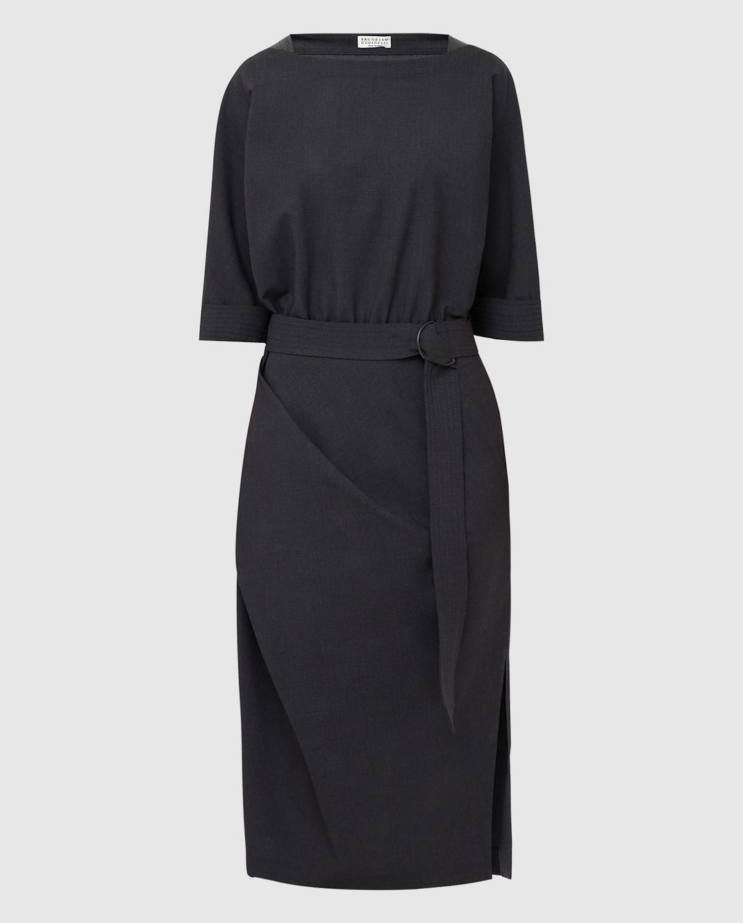 Brunello Cucinelli Темно-серое платье из шерсти изображение 1