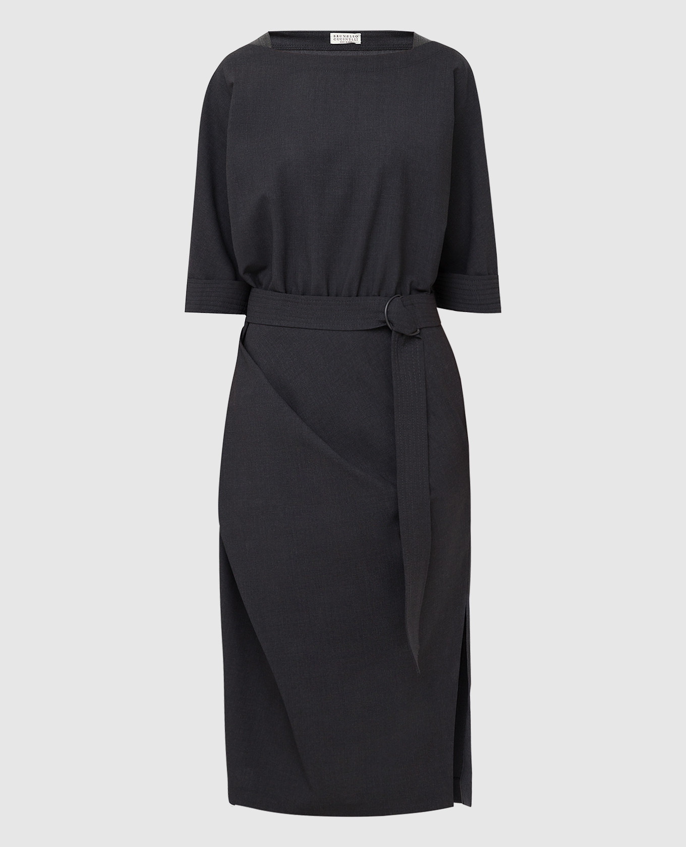 Темно-серое платье из шерсти