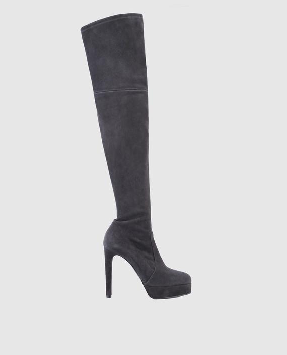 Темно-серые замшевые ботфорты