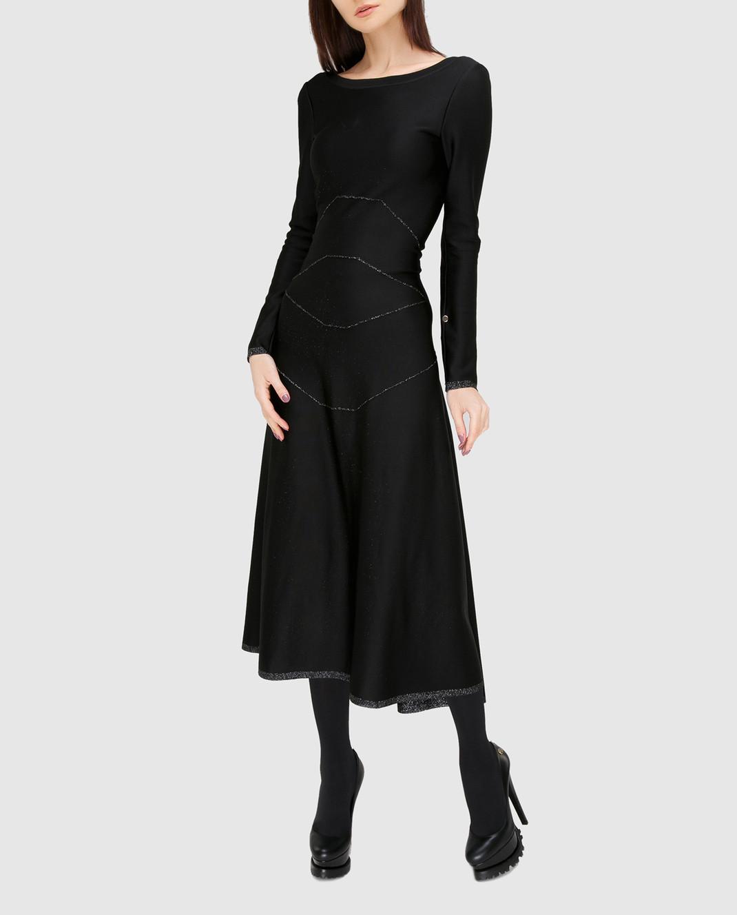 Azzedine Alaia Черное платье с V-образным вырезом на спине 6H9RG99LM288 изображение 2
