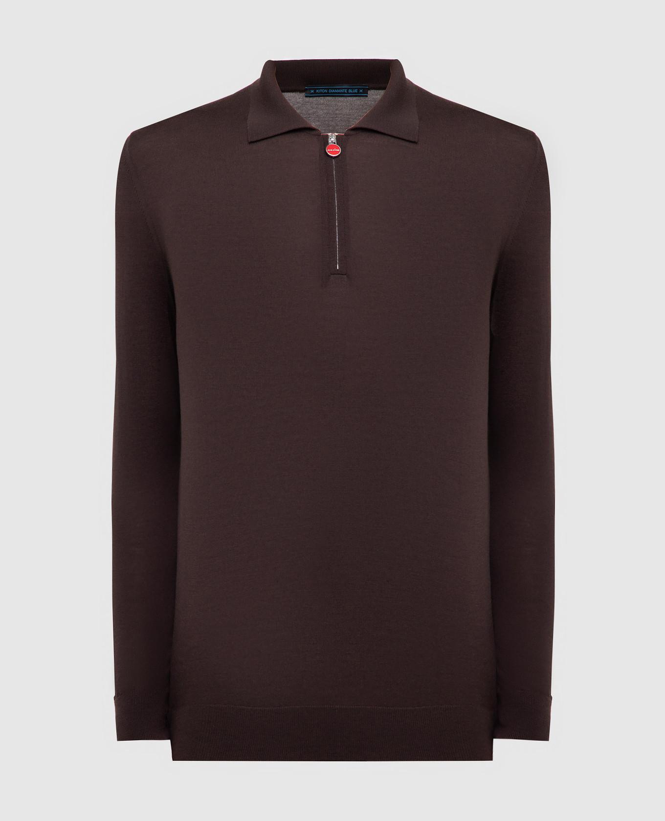 Темно-коричневое поло из шерсти