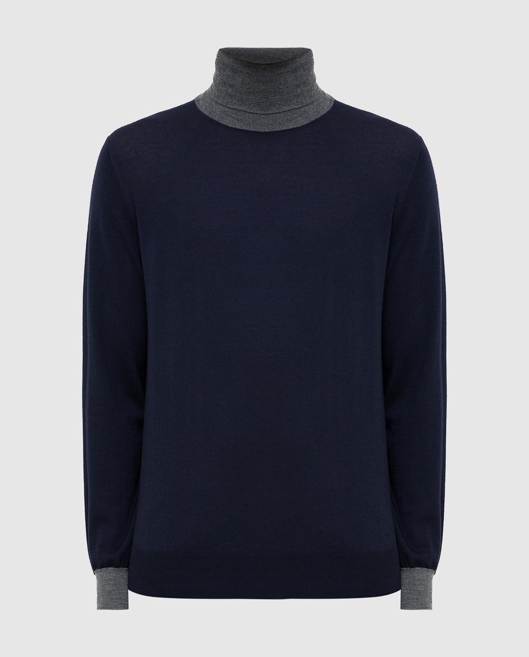 Brunello Cucinelli Темно-синий гольф из шерсти и кашемира изображение 1