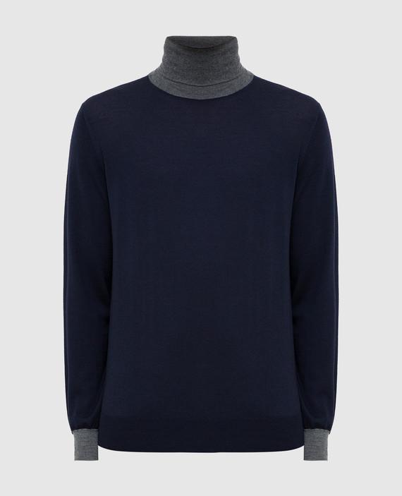 Темно-синий гольф из шерсти и кашемира