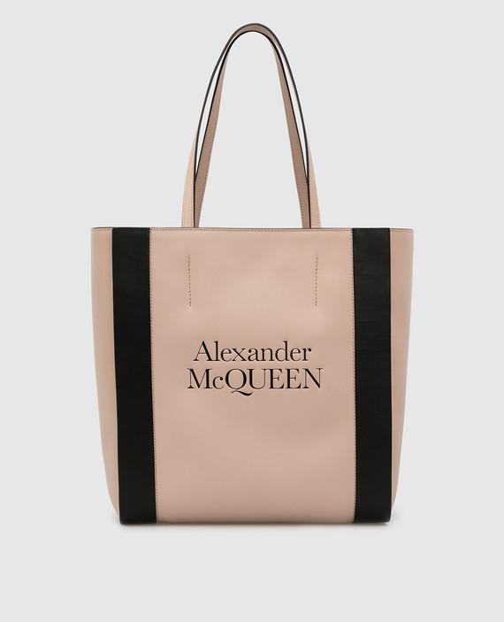 Пудровая кожаная сумка