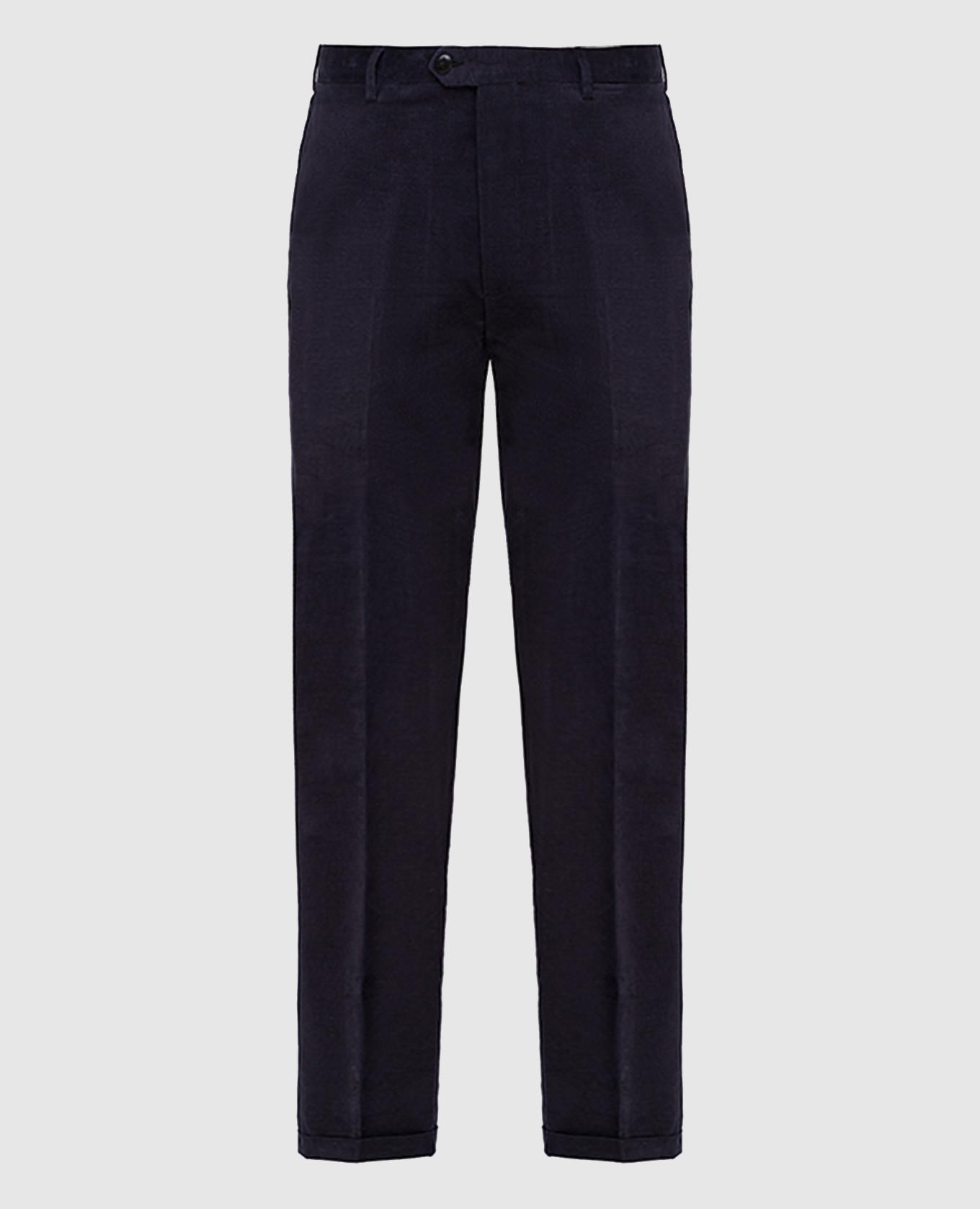 Темно-синие вельветовые брюки