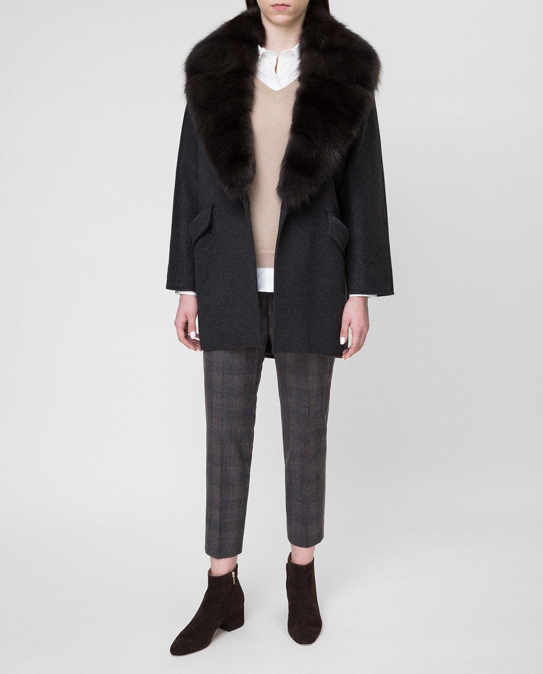 Real Furs House Черное пальто QSR433 изображение 2