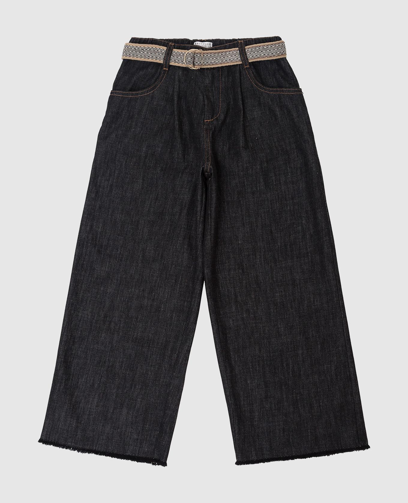 Детские джинсы с вышитым поясом и бахромой Brunello Cucinelli