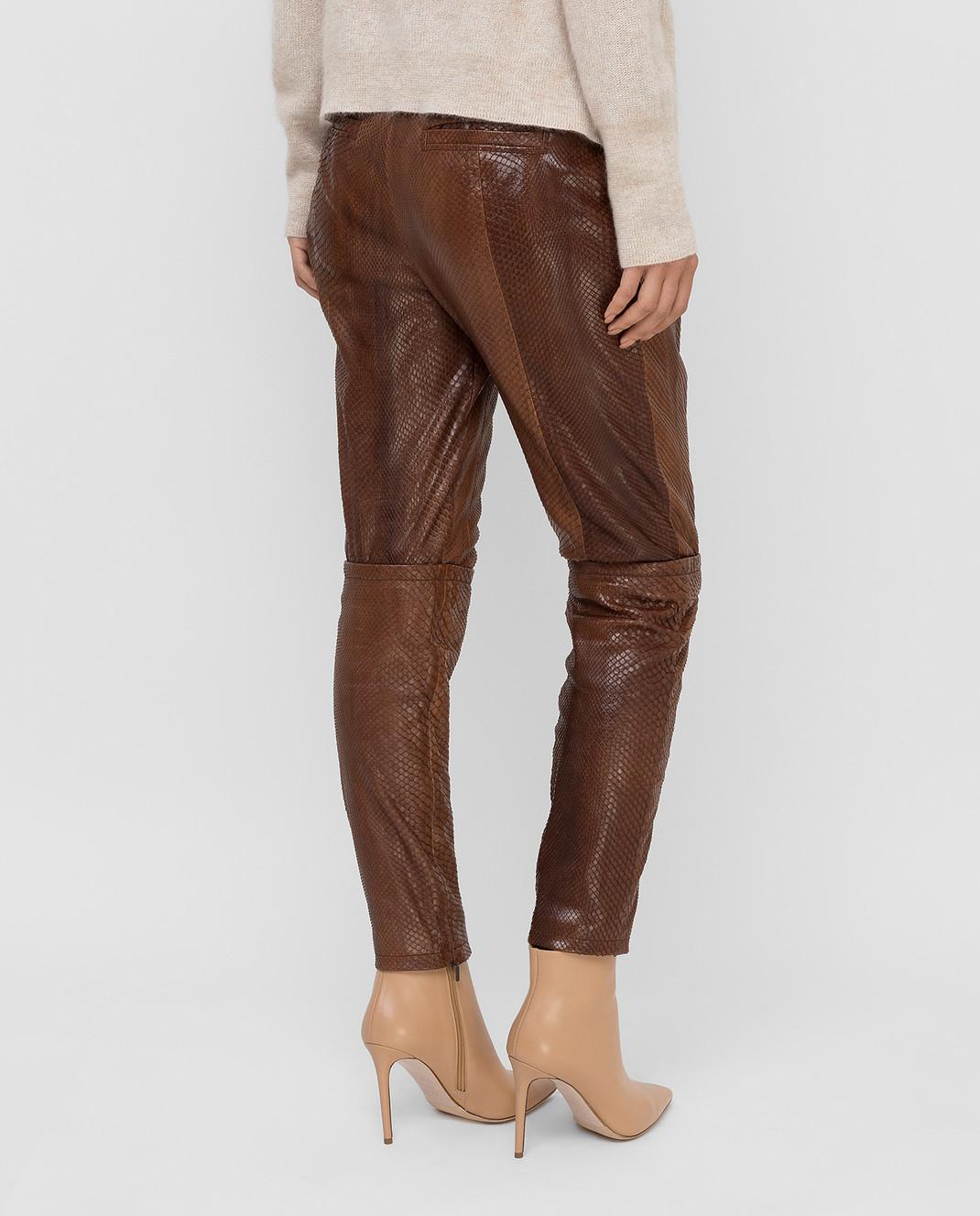 Gucci Коричневые брюки из кожи питона 264366 изображение 4
