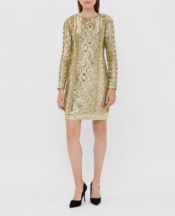 Золотистое платье в пайетках hover