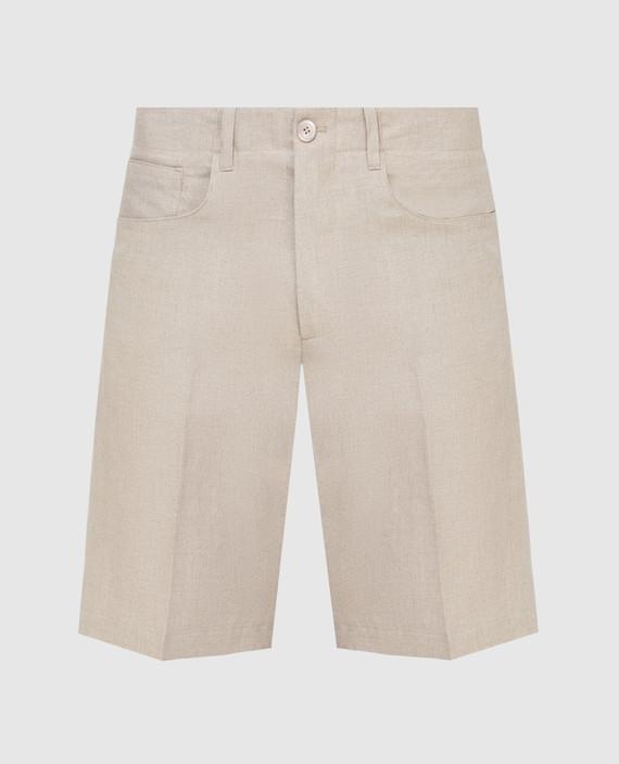 Бежевые шорты из льна