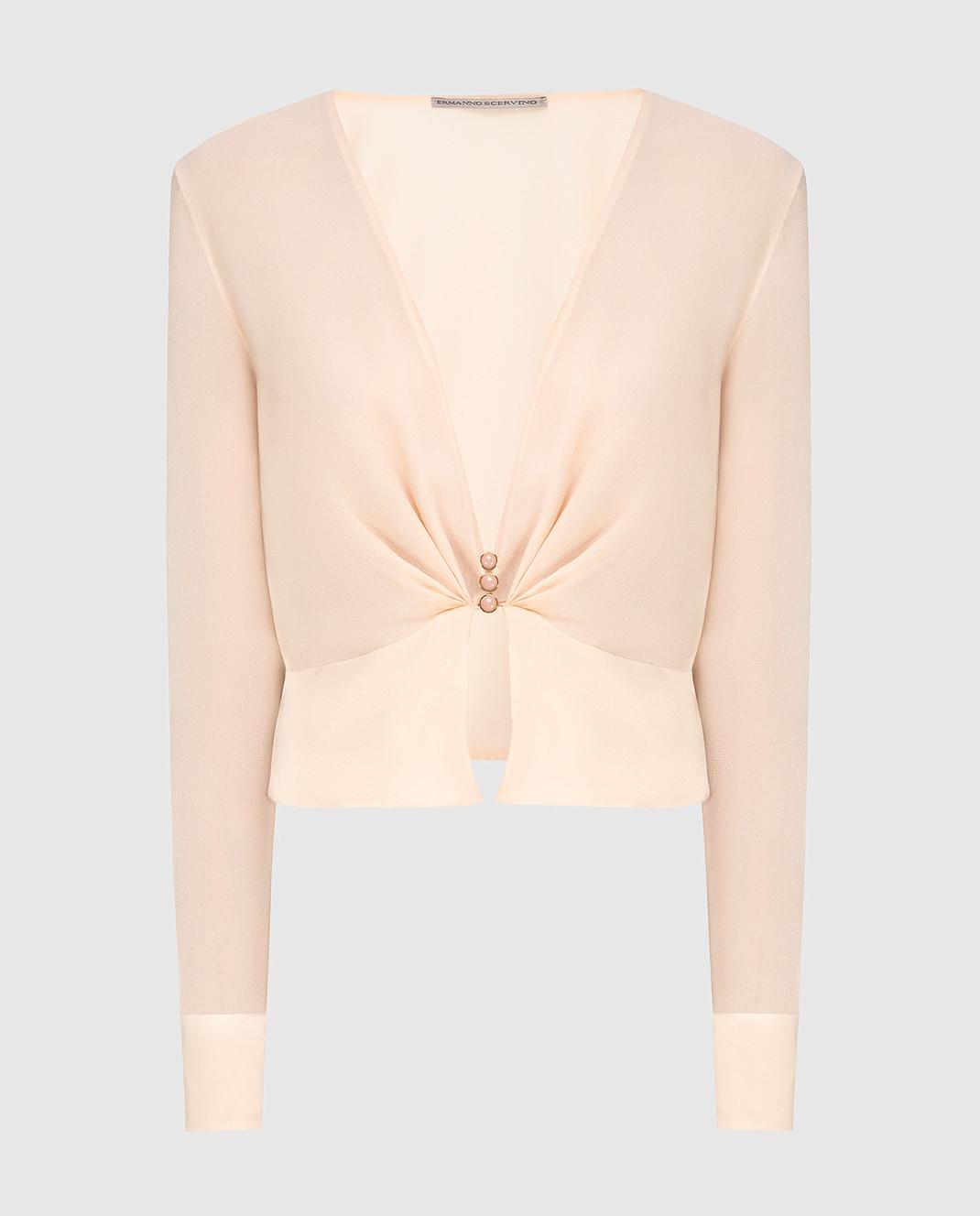 Ermanno Scervino Бежевая блуза из шелка D282K713GET