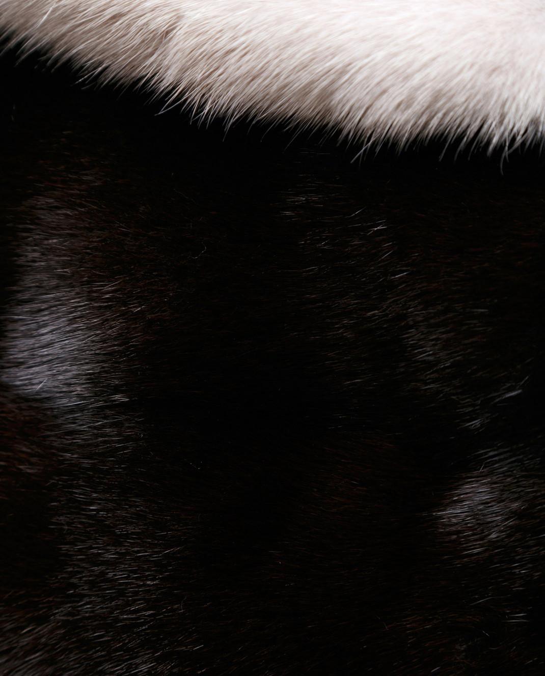 Florence Mode Темно-коричневая шуба из меха норки с поясом L1827EBONY изображение 5