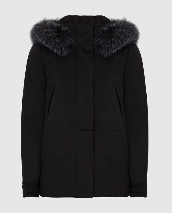 Черная куртка из кашемира с мехом лисы