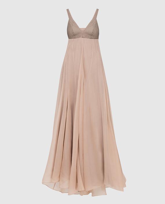Бежевое платье и шелка