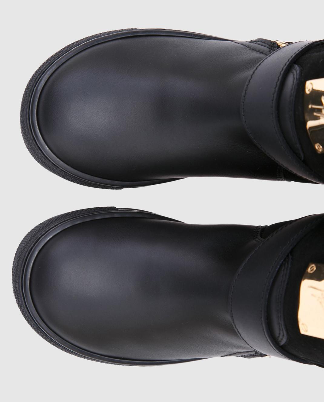 Giuseppe Zanotti Черные замшевые сапоги на меху с кожаными деталями изображение 4
