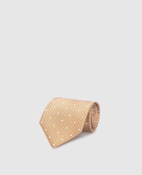 Оранжевый галстук ручной работы из шелка