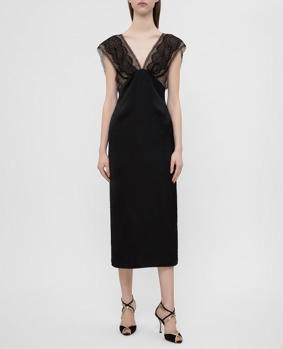 Черное платье с кружевом hover