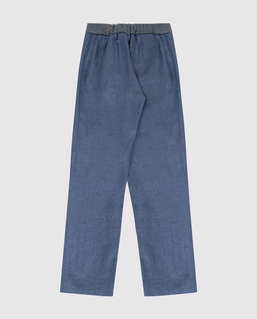 Loro Piana Детские синие брюки из льна F1FAI0756 изображение 2