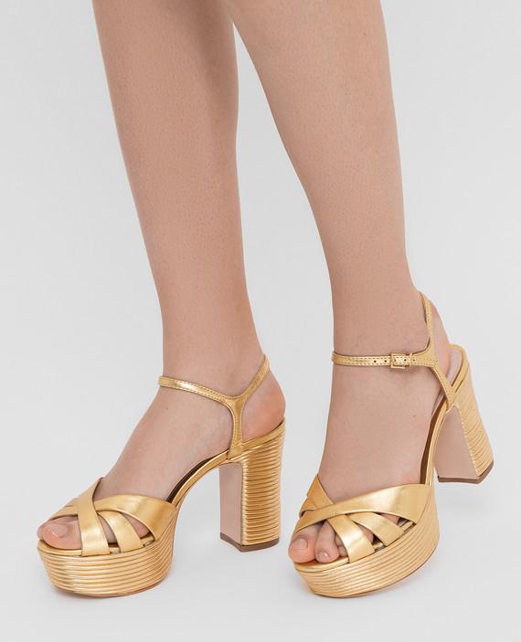 Золотистые кожаные босоножки hover