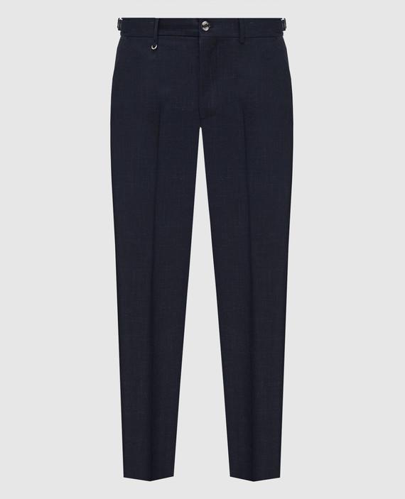 Темно-синие брюки из шерсти, шелка и льна