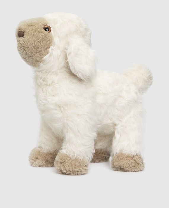 Детская белая игрушка из меха ягненка hover