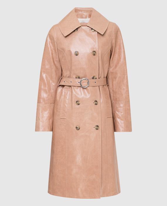 Бежевое кожаное пальто
