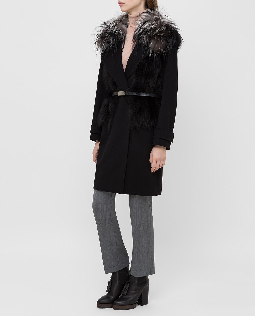 Giuliana Teso Черное пальто из шерсти и кашемира с мехом лисы 64C6060 изображение 3