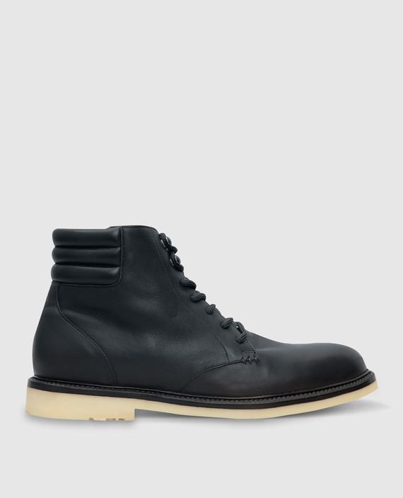 Темно-синие кожаные ботинки
