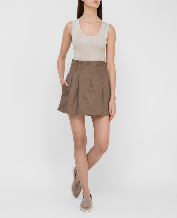 Темно-бежевая юбка из льна hover